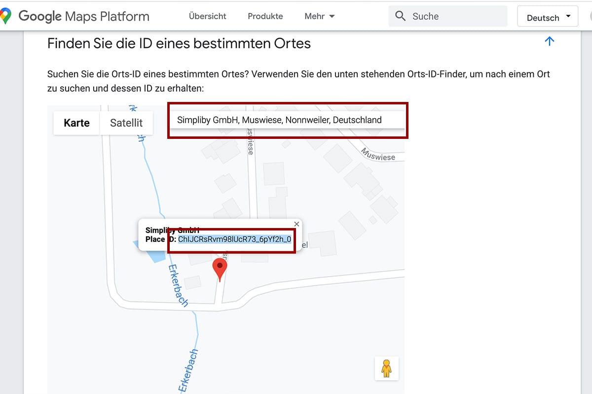 Google Bewertungen - Google ID generieren