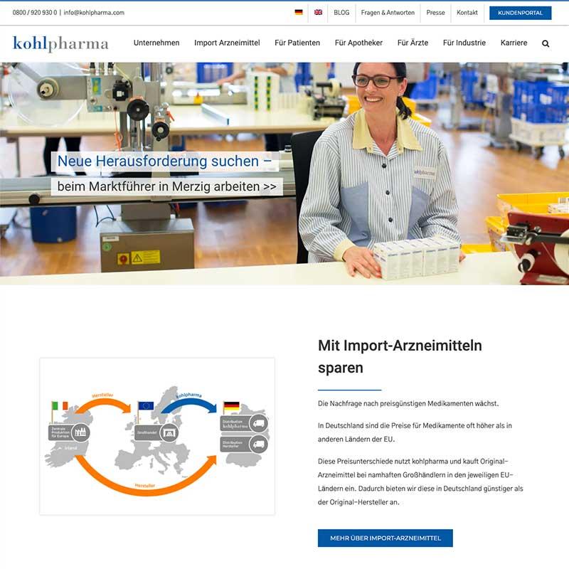 Internetseite von kohlpharma - Referenzen von simpliby