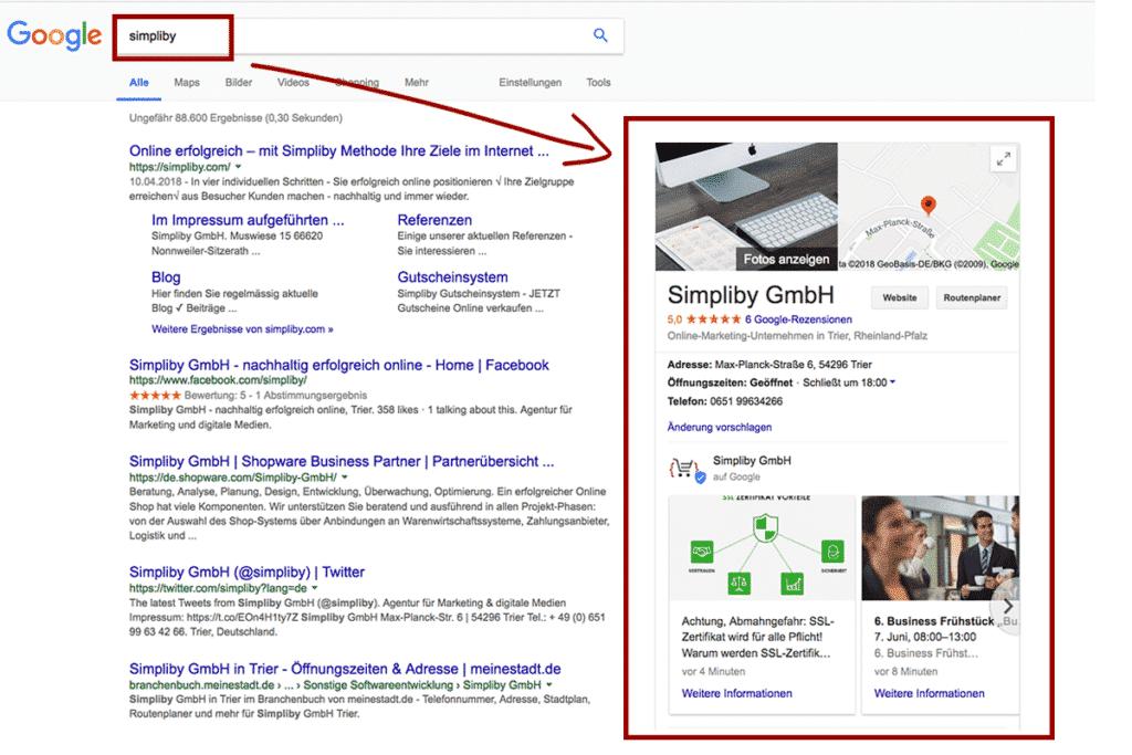 1. Suchergebnisse rechts