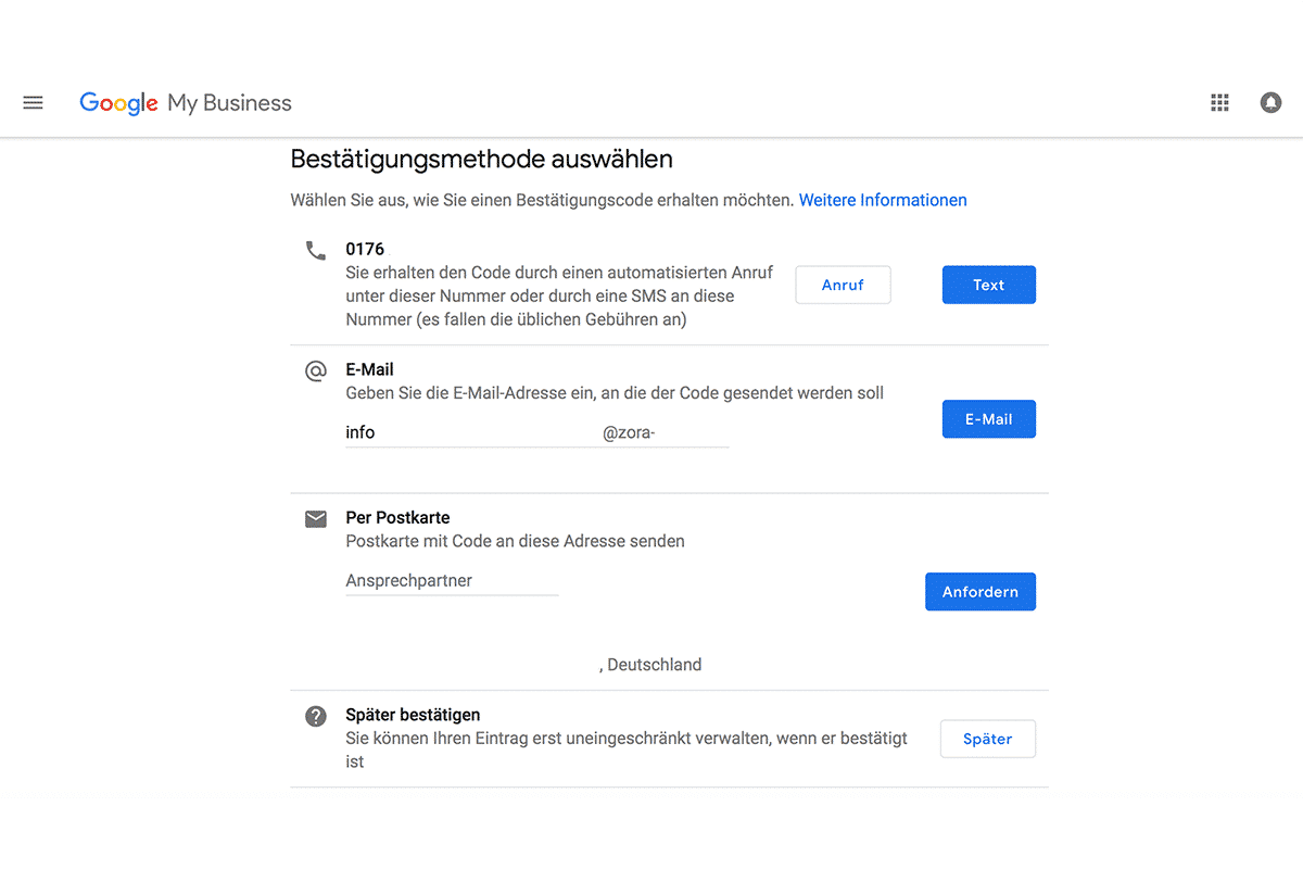 Möglichkeiten, Ihr Google My Business Konto zu bestätigen