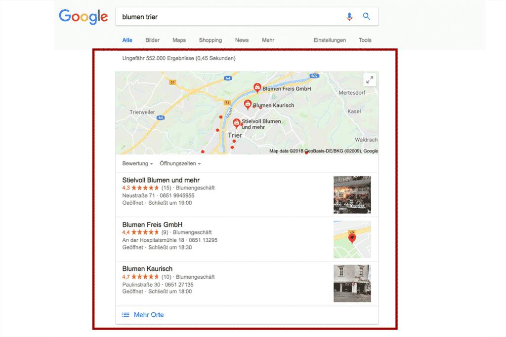 2. Box mit lokalen Suchergebnissen