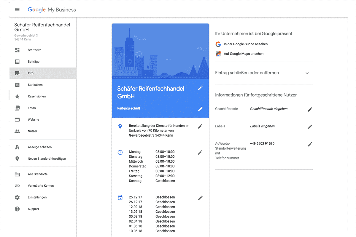 Ihre Unternehmensdaten auf Google My Business bearbeiten