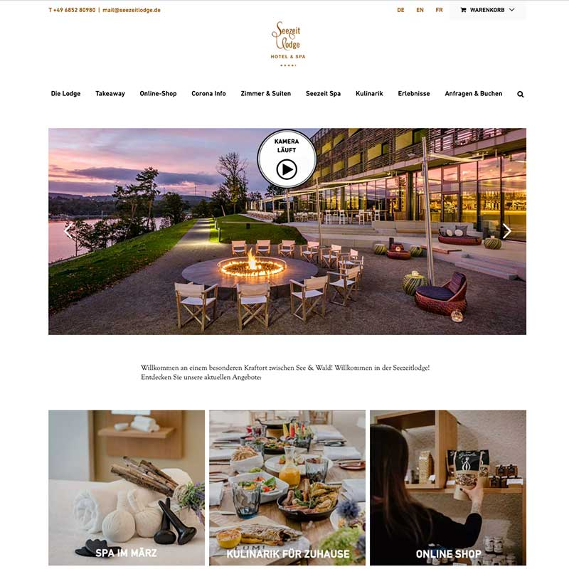 Internetseite von Seezeitldoge Hotel & Spa - Referenzen von simpliby