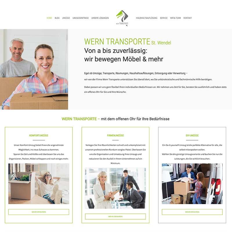 Internetseite von Wern Transporte - Referenzen von simpliby