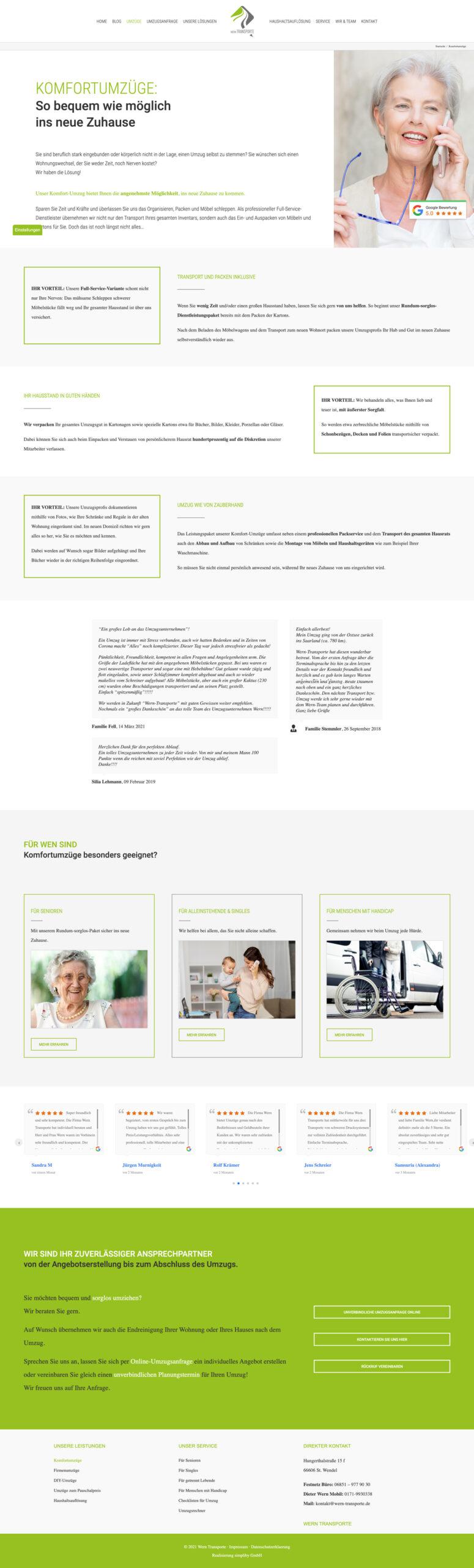 Website Aufbau - Beispiel Leistung Seite
