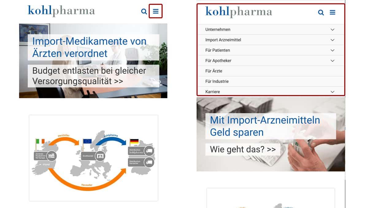 Website Aufbau - Beispiel für Hamburger Menü