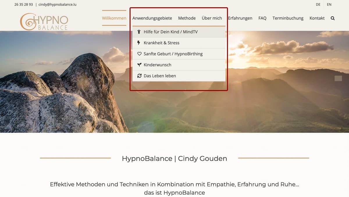 Website Aufbau - Beispiel für Dropdown Menü