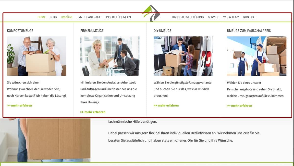 Website Aufbau - Beispiel für Megamenü