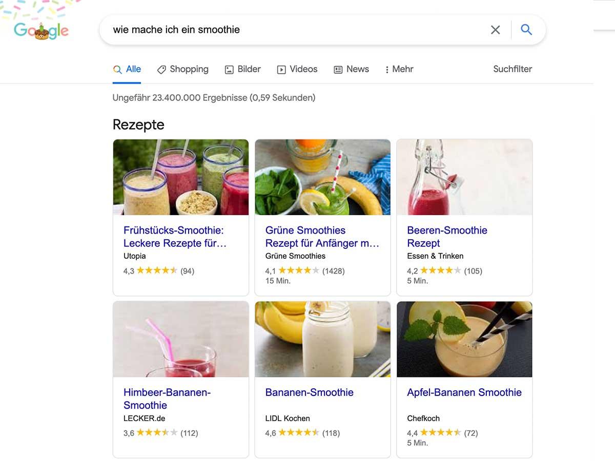Website Optimierung - Featured Snippets Rezepte