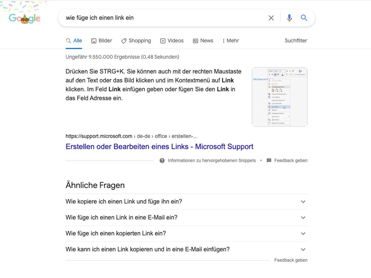Website Optimierung - Featured Snippets Fragen